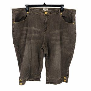 Cato Capris Size 28W Womens Brown Distressed Jeans